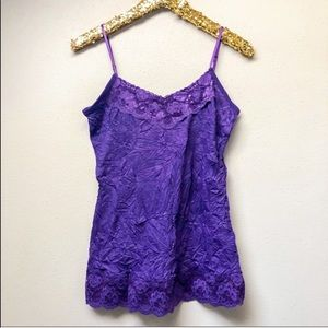 Purple Lace Trimmed Crinkle Camisole